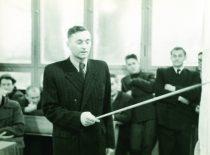 Marijonas Martynaitis gina diplominį darbą, 1950 m. lapkričio 29 d. (Originalas – M. Martinaičio šeimos archyve)