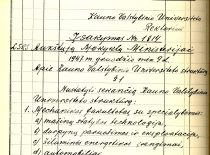 Order No. 1814 of the Minister of Higher Education of SSRS S. Kaftanov on the restructuring of the State University of Kaunas (that established the Faculty of Chemical Technology) of 9 December 1947. (Original is in KTU archive)