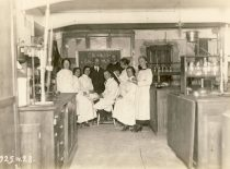 Prof. A. Purėnas with students at the University's Organic Chemistry Laboratory, 1925.