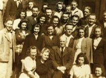 Prof. A. Purėnas with his students at the chamber of the Chemical Division of the Faculty of Technology (former Research Laboratory of the Lithuanian army), May 1947 (Original is in the archive of prof. R. Baltrušis)
