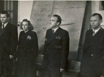 Diploma defence at Vytautas Magnus University on 29 September 1950. Second from the left – V. Zelionkaitė, third – R. Baltrušis. (Original is in the archive of prof. R. Baltrušis)