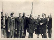 Representatives of KPI Faculty of Chemical Technology at Mažeikiai Oil Refinery Plant, 10 October 1981. From the left: assoc. prof. R. Šablinskas, prof. J. Degutis, assoc. prof. V. Barkauskas, prof. R. Baltrušis, Vice-Dean assoc. prof. V. Klusis, Dean prof. K. Sasnauskas, senior researcher A. Stanišauskaitė, prof. S. Kutkevičius, director of the plant A. Maslovas.