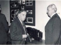 Prof. J. Janickis ir prof. B. Stulpinas auditorijoje, 1985 m.