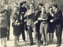 Mid-studies celebration of KPI students of chemistry, 1963. In the centre – future signatory of the Act of Independence of 11 March 1990 Algirdas Patackas. (Original is in the archive of A. Patackas family)
