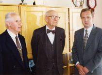 Prof. K. Sasnauskas, prof. A. Damušis and faculty's Dean prof. R. Šiaučiūnas, 2003.