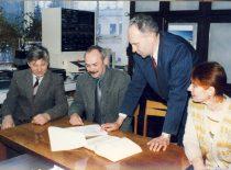 Winners of the Lithuanian Science Award J. V. Gražulevičius, A. Undzėnas, A. Stanišauskaitė and R. Kavaliūnas, 1998.
