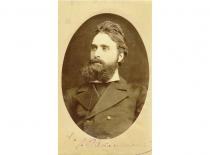 Jonas Basanavičius Lom Palankoje (Bulgarija), 1880 m. Kitoje pusėje yra J. Basanavičiaus ranka užrašyta dedikacija Vincentui Tumosai. (Originalas – KTU bibliotekoje)