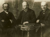 Representatives of Lithuania Minor Kristupas Lekšas, Martynas Jankus and Jurgis Strekys in the State Council of Lithuania, 1919. (Original is in KTU Library)