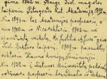 Autobiography of prof. Jonas Mačiulis Maironis, 1927. (Original is in KTU Museum)
