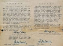 Authorisation, issued to A. Damušis by the Lithuanian Union of Political Prisoners of Lithuanian Anti-Nazi Resistance, 1947. (From the archive of A. Damušis family)