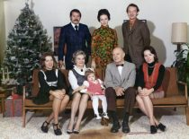 Christmas at Damušis family in the USA, 1972. Sitting: Gintė, Jadvyga, granddaughter Andrea, Adolfas, Indrė. Standing: Saulius, daughter in law Vida and her husband Vytenis. (From the archive of A. Damušis family)
