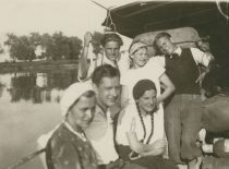 A. Damušis with members of the Ateitis Association on the steamship during the excursion