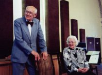 A. Damušis with his wife Jadvyga celebrating his 90th anniversary at the Lithuanian Academy of Sciences, 1998 (From the archive of A. Damušis family)