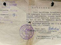 Priešlėktuvinės apsaugos rinktinės vado leidimas kariui A. Damušiui dirbti universitete, 1936 m. (Iš A. Damušio šeimos archyvo)