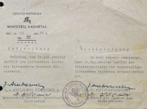 Certificate proving that A. Damušis is the Minister of Industry of the Provisional Government of Lithuania, 28 June 1941. (From the archive of A. Damušis family)