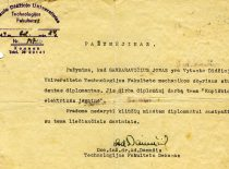 Certificate issued to student J. Garbaravičius, signed by the Dean of VDU Faculty of Technology, assoc. prof. A. Damušis, 1944. (From the funds of KTU Museum)