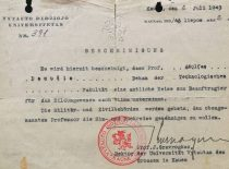 Certificate of the Dean of the Faculty of technology A. Damušis issued by VDU Rector J. Gravrogkas, 1943. (From the archive of A. Damušis family)
