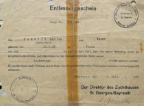 Certificate on the liberation of A. Damušis from the Nazi jail, 1945. (From the archive of A. Damušis family)