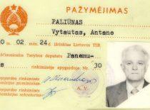 Sąjūdžio iškelto Aukščiausiosios Tarybos deputato V. Paliūno pažymėjimas, 1990 m. (Iš V. Paliūno archyvo)