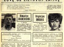 """KTU laikraščio """"Studijų aidai"""" informacija apie 1991 m. sausio 13d. prie televizijos bokšto žuvusius studentus Rimantą Juknevičių ir Virginijų Druskį."""