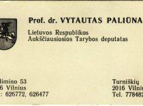Aukščiausiosios Tarybos deputato prof. V. Paliūno vizitinė kortelė, 1990–1992 m. (Iš V. Paliūno archyvo)
