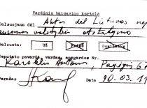 A. Karoblio vardinio balsavimo kortelė, 1990 m. kovo 11 d.