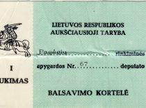 Voting card of A. Karoblis, 1990-1992. (From the archive of A. Karoblis family)