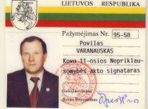 Kovo 11-osios akto signataro P. Varanausko pažymėjimas