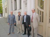 Initiators of Sąjūdis at KTU First Chamber; celebration of the 20th anniversary of Sąjūdis, 2008. From the left: prof. Audris Kopustinkas, assoc. prof. Pranas Kanapeckas, assoc. prof. Valentinas Kiauleikis and prof. Aleksandras Targamadzė. (Photograph by J. Klėmanas)