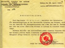 Certificate issued to the assistant J. Gimbutas signed by the Dean of the Faculty of Construction prof. S. Kairys, 1942.