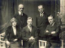 The main members of the Lithuanian Social Democratic Party, 1921. From the left: Liuda Purėnienė, Antanas Purėnas, Steponas Kairys, Kipras Bielinis, and Vladas Požela.