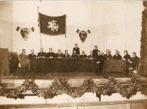 Presidium and secretariat of the Lithuanian Conference in Vilnius on 18-20 September 1917. From the left: P. Bugailiškis, K. Bizauskas, K. Šaulys, J. Staugaitis, J. Basanavičius, S. Kairys, A. Smetona, J. Vileišis, P. Dogelis, J. Paknys, J. Šaulys, M. Biržiška, J. Stankevičius, P. Klimas. (Photograph by A. Jurašaitytė).