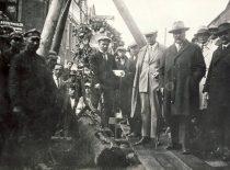 Author of the Water Supply and Sewage Project for Kaunas S. Kairys and Burgermeister of Kaunas Jonas Vileišis inspect the construction works of the sewage and water supply system in Laisvės alley, 1928.