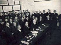 Lecturers and students of VDU Technical Faculty at the defence of theses, 1939. First row from the left: prof. S. Kolupaila, prof. K. Vasiliauskas, prof. P. Jodelė, assoc. prof. J. Šimoliūnas, assoc. prof. T. Šulcas, prof. S. Grinkevičius. Second row (from the left): assoc. prof. J. Jankevičius, assoc. prof. S. Kairys, assoc. prof. V. Gorodeckis, assoc. prof. J. Graurogkas, senior assistant V. Verbickas.