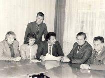 Department of management 1986. From the left: assoc. prof. P. Chmieliauskas, lect. V. Aleknavičienė, assoc. prof. V. Misevičius, head assoc. prof. R. Venckus, assoc. prof. A. Sakalas, assoc. prof. B. Kudžma.