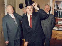 Former Deans Prof. B. Martinkus and Assoc. Prof. A. Makarevičius congratulate the new Dean prof. B. Neverauskas, 1992.