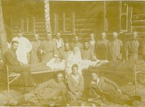 Doctor J. Nemeikša with diseased soldiers of the Lithuanian army in Alytus, 1921.