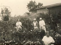 In the hospital yard with personnel.