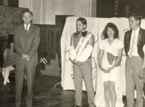 Christening of the freshmen at the faculty of Engineering Economics, 1973. The first person from the left is Dean Prof. Algirdas Makarevičius.