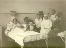 At the ward with patients.
