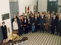 Participants of the commemoration of the 125th birthday of prof. K. Vasiliauskas at the laboratory named by prof. K. Vasiliauskas at KTU II Chamber, 2004.