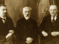 Secretary of Technical Faculty, prof. S. Kolupaila, Vice-Rector of the university, P. Jodelė and Dean of Technical Faculty, K. Vasiliauskas, 1936.