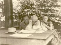With grandchildren Vytautas and Irta at the pavilion, 1957.